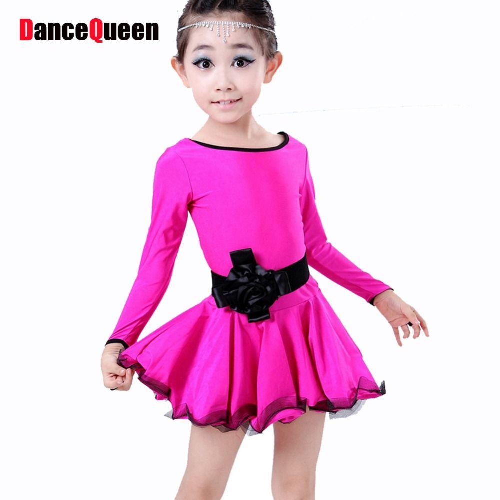 Click to buy ucuc children latin dance dresses roseblueblack