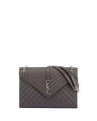 f0452c95c6 V-Flap+Large+Tri-Quilt+Envelope+Chain+Shoulder+Bag+by+Saint+Laurent+at+ Neiman+Marcus.