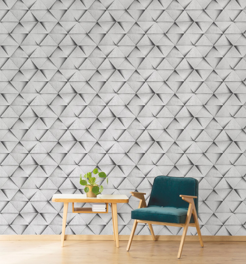 Fine Decor Apex Geometric Metallic Wallpaper Abstract Triangle FD42001 Aqua Navy