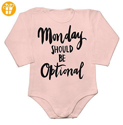 Monday Should Be Optional Baby Long Sleeve Romper Bodysuit Extra Large - Baby bodys baby einteiler baby stampler (*Partner-Link)