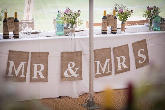 Mr & Mrs handmade wedding burlap banner for displaying at rustic and vintage weddings