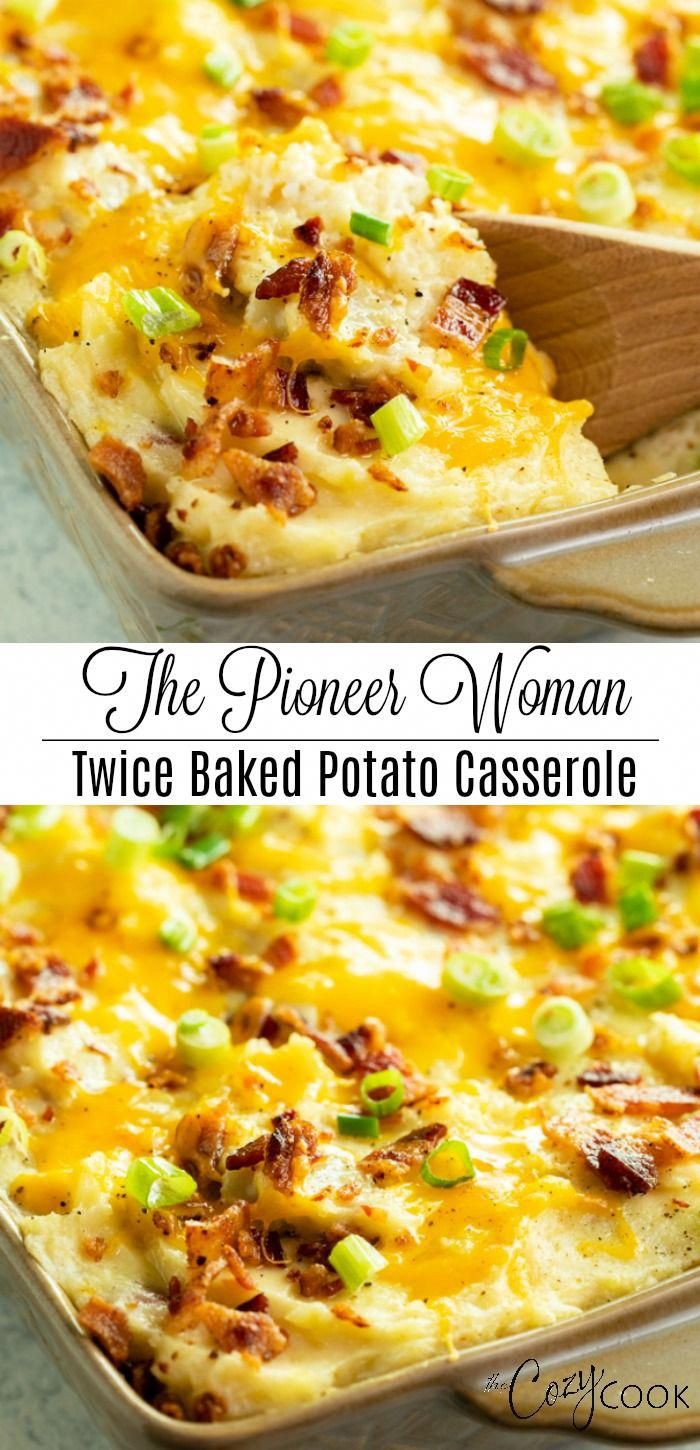 This Twice Baked Potato Casserole recipe from The Pioneer Woman is an easy make ahead side dish idea for Thanksgiving, Christmas, or any family dinner! #comfortfood #bacon #potatorecipes #mashedpotatoes #sides #holidayrecipes #thanksgivingrecipesappetizers