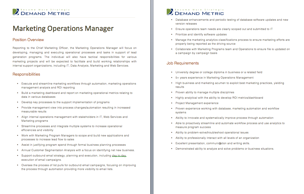 Marketing Operations Manager Job Description  A Template To