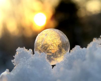 A frozen bubble in the sunset, Finland