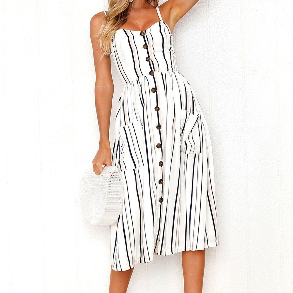 f5415d5d6b48 Maternity Outfits - loose-fitting maternity dresses   HGWXX7 Dress Women  Summer Print Sexy Off Shoulder Button Sleeveless Pocket Dress M WhiteStripe  -- You ...