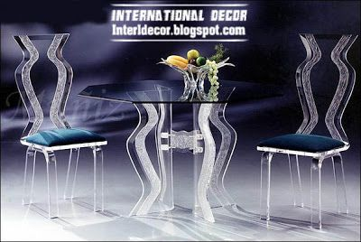 luxurious glass furniture, glass chairs, glass table design 2013