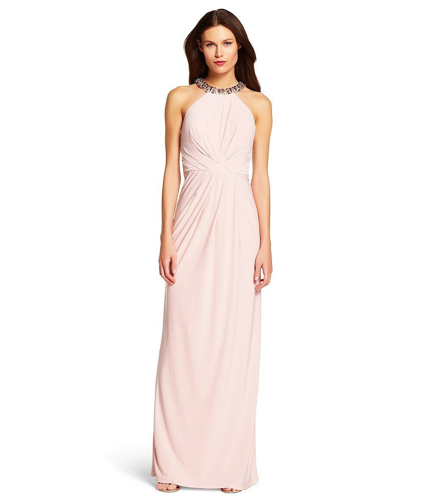 Icy/Pink:Adrianna Papell Beaded Halter Neck Jersey Gown | Dressess ...