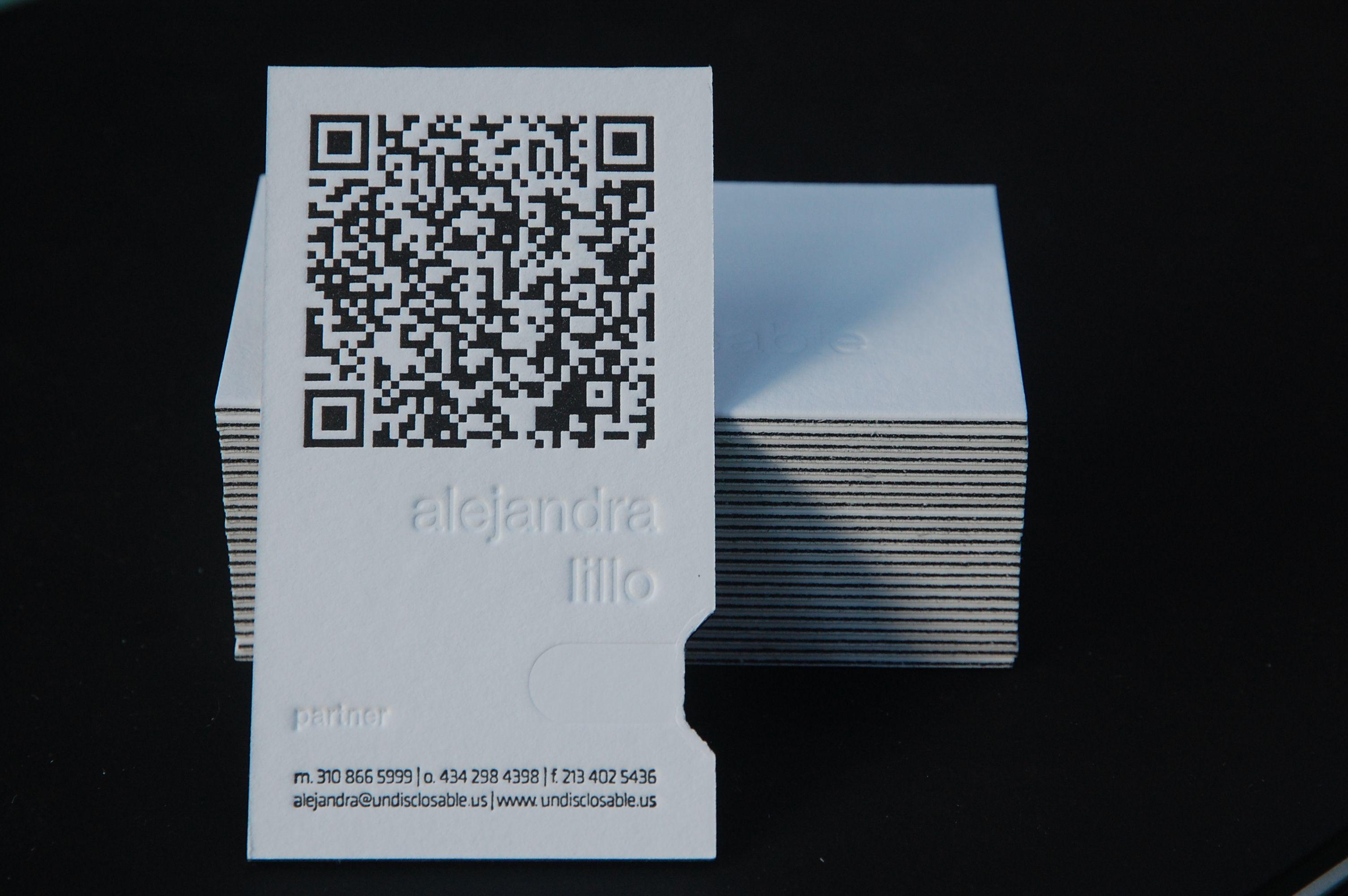 Undisclosable Letterpress Business Card Qr Code