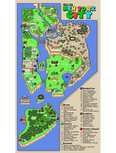 Super Mario Brothers Inspired Map Of Nyc Nyc New York City Map