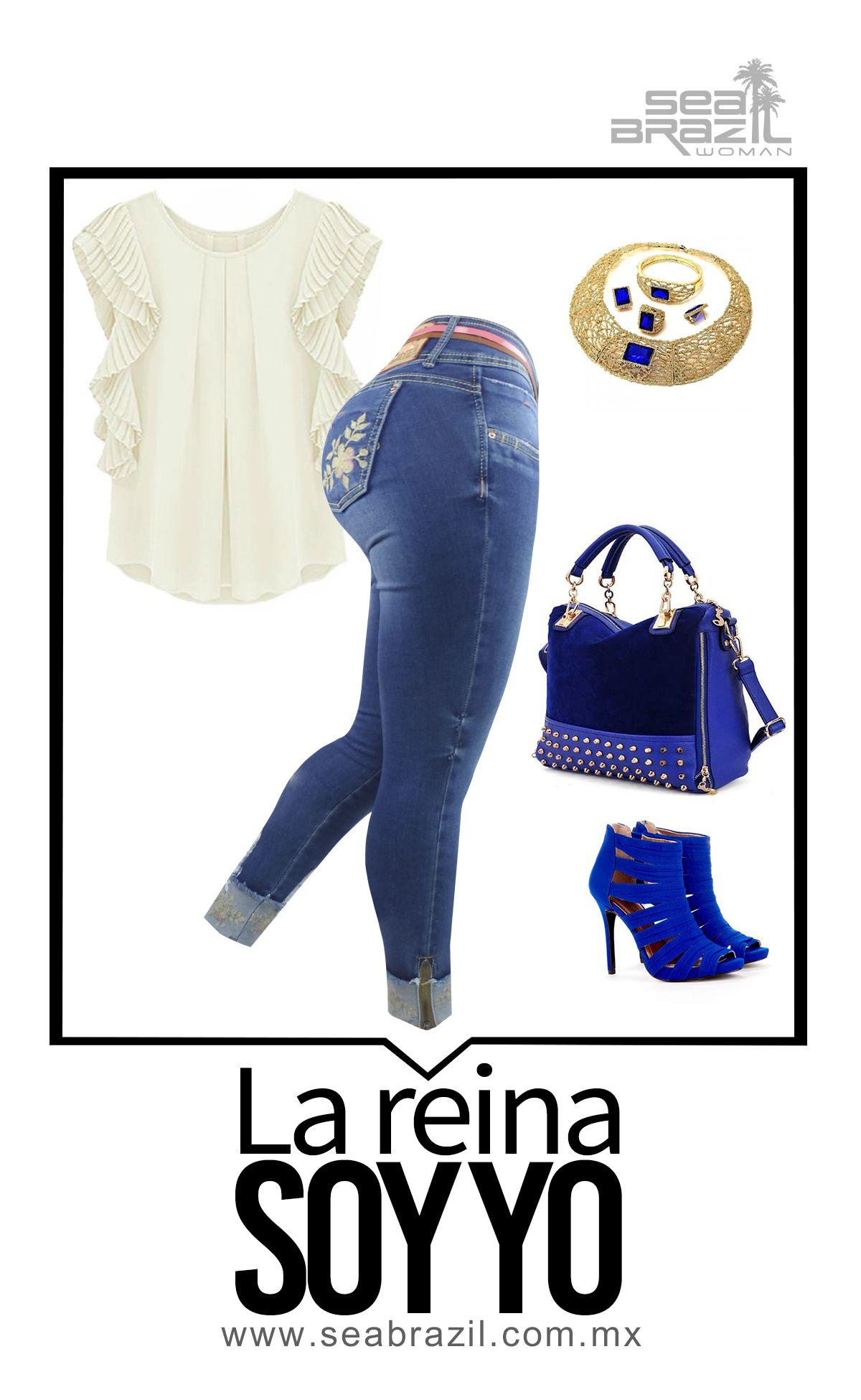 Esta Combinación Con El Azul Rey Y El Dorado Nos Hace Sentirnos Como Unas Reinas Te Atreves A Llevarlo Puesto Seabrazil Jeans Moda Facil Moda Fashionista