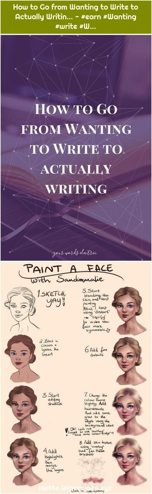to Go from Wanting to Write to Actually Writin  1 Tutorial Painting a female face of Sandramalie drawing painting  illustration tools to guide How to Go from Wanting to W...