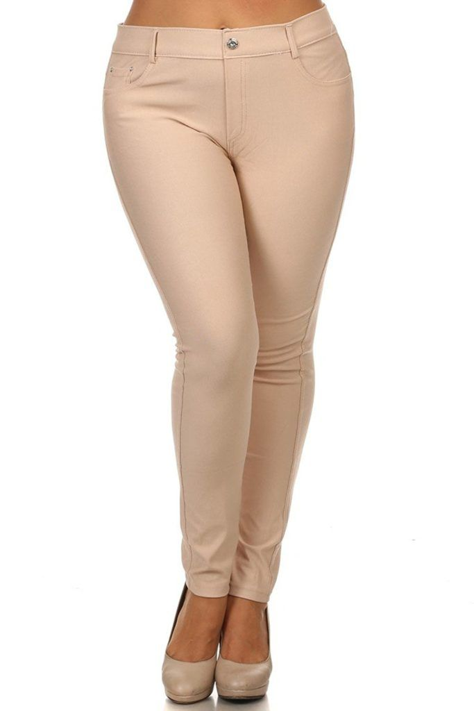 9fa7fbd1aaf83 ICONOFLASH Women s Stretch Jeggings - Slimming Cotton Pull On Jean Like  Leggings With Plus Size Options