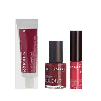 CONTIENE: 1 Mascarilla iluminadora rosa salvaje 1 brillo labios nº 45 1esmalte uñas deep red (57)  https://farmaciaexpres.com/perfumeria-y-cosmetica/korres/korres-party-essentials-brillo.html