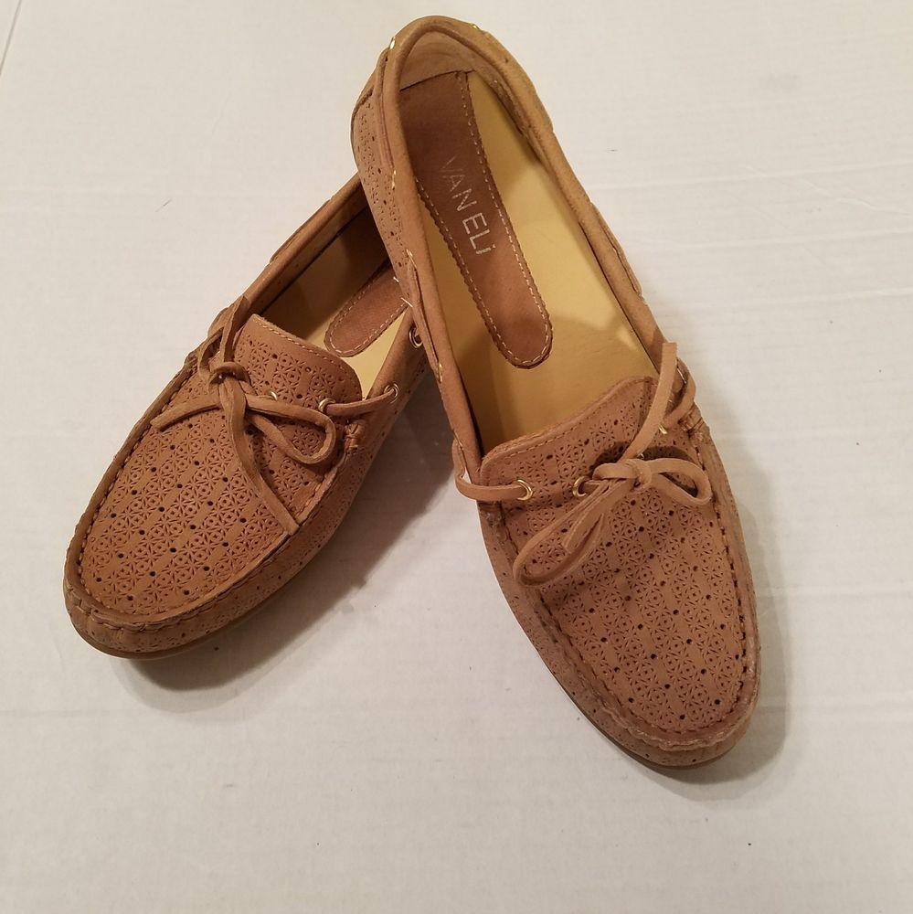 VAN ELI Sz Tan 7.5M Tan Sz Perforated Leder Moccasins Loafers Deck ... c7088e