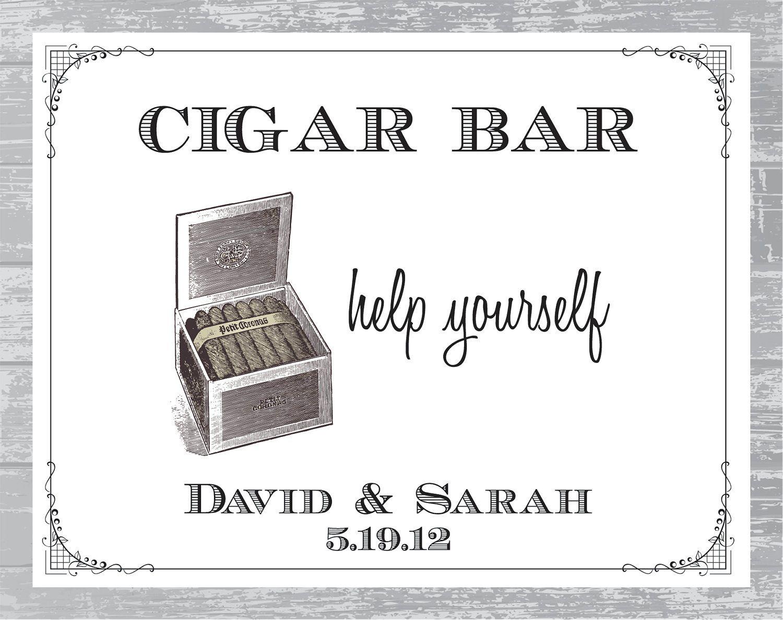 Custom Art Deco Cigar Bar Sign DIY Wedding Poster Printable ...