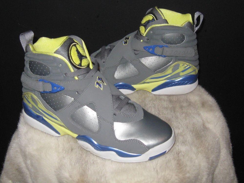 33eb99a7b Girls Nike Air Jordan 8 Retro GS Size 5.5Y Cool Grey Volt Yellow 580528 038   Nike  Athletic