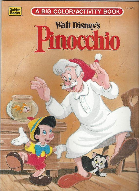 Vintage Big Color/Activity Book Walt Disney\'s Pinocchio, C1993 ...