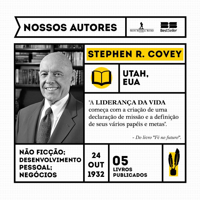 """Stephen R. Covey, um dos mestres da autoajuda, da tomada de decisões e da liderança, é autor do best-seller """"Os 7 hábitos das pessoas altamente eficazes"""", apontado como o Primeiro Livro de Negócios Mais Influente do Século XX."""