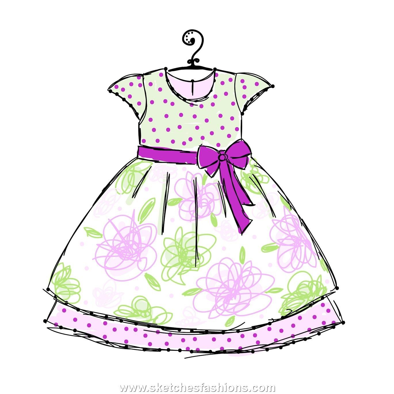 baby dress fluffy sketch in 2019 | Kids fashion, Baby ...