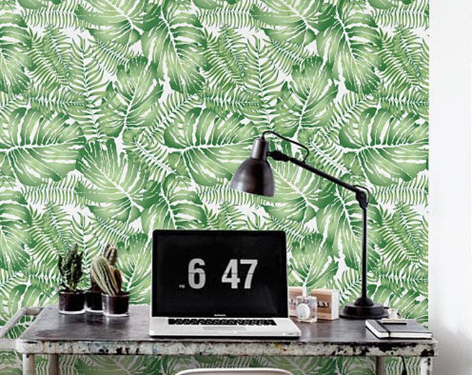 floral wall d cor jungle leaf wallpaper removable wallpaper self adhesive wallpaper jungle. Black Bedroom Furniture Sets. Home Design Ideas