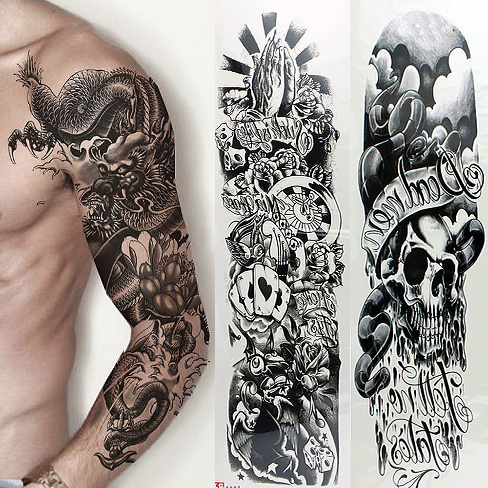 edce3c329 US-Deals Cars 5 Sheets Full Arm Sleeve Temporary Disposable Tattoos Fake  Skull Art Stickers