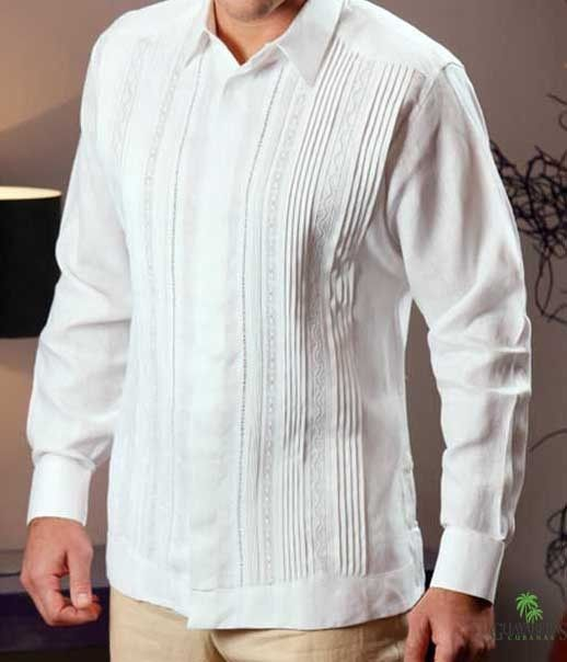Embroidered Guayabera for wedding. Pleats and Lace.