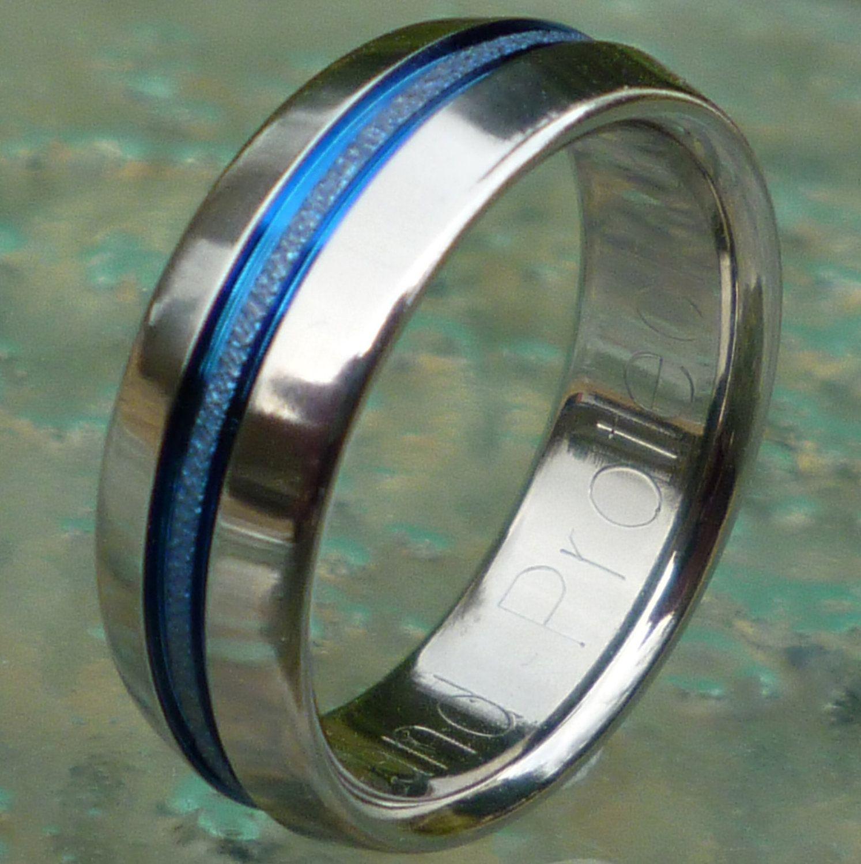 Blue Titanium Wedding Band Thin Blue Line Ring Custom