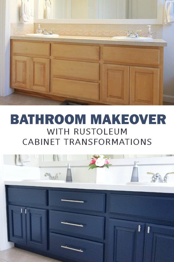 RustOleum Cabinet Transformation Bathroom - Bathroom cabinet makeover, Bathroom makeover, Painting bathroom cabinets, Rustoleum cabinet transformation, Bathroom cabinets diy, Cabinet transformations - RustOleum Cabinet Transformations kit can be used on a bathroom vanity  See how to paint a navy bathroom cabinet for a fresh makeover