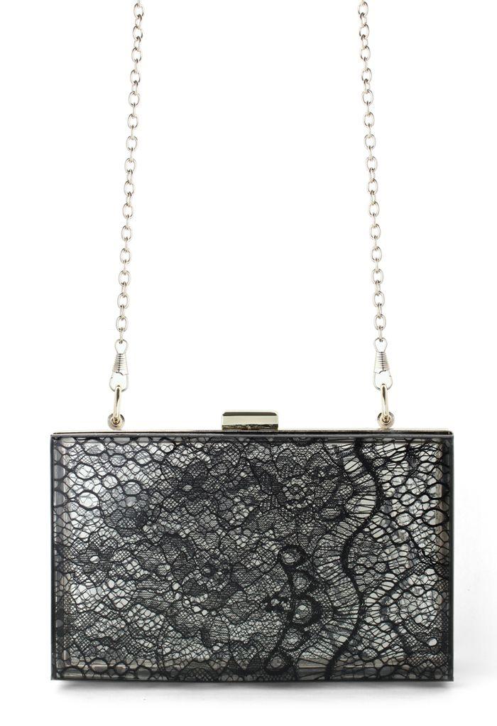 Black Lace Hardcase Clutch