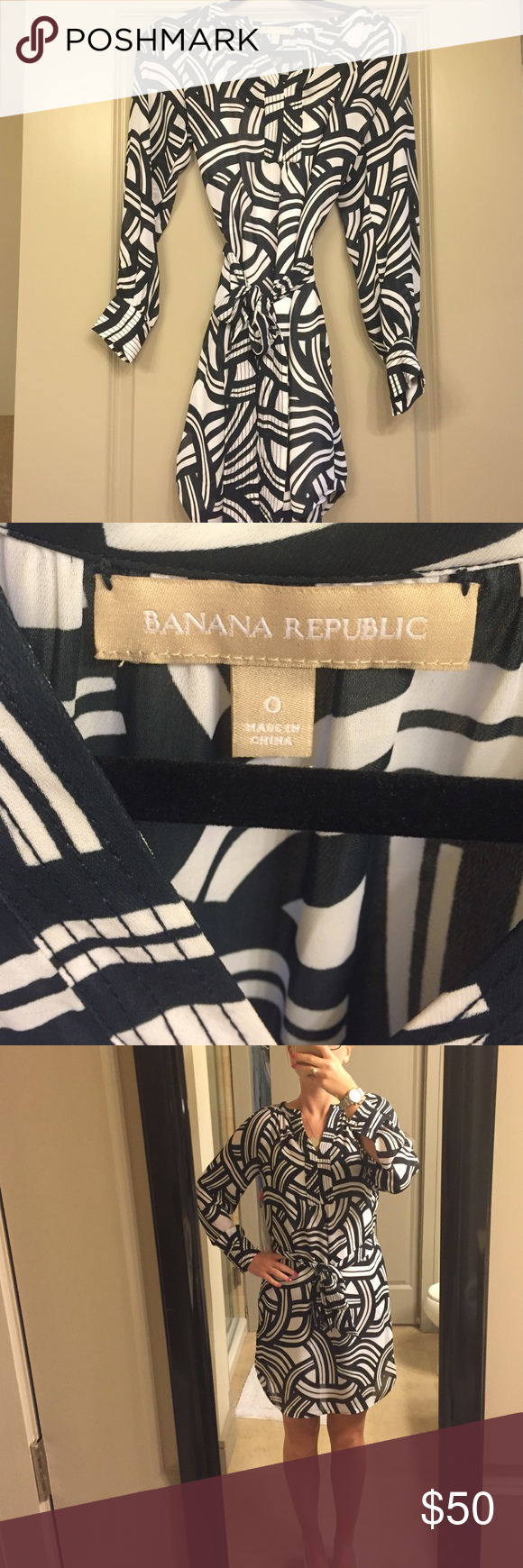 Banana Republic, lightweight, belted dress, size 0 Banana Republic size 0 belted dress. long sleeves! Navy and white design. I would say this is NOT true to size, as I typically wear sizes 2,4 or sometimes 6 (I'd say Banana sizes are a bit skewed across the board). Perfect dress for the summer.. Dress up or down! Banana Republic Dresses Midi