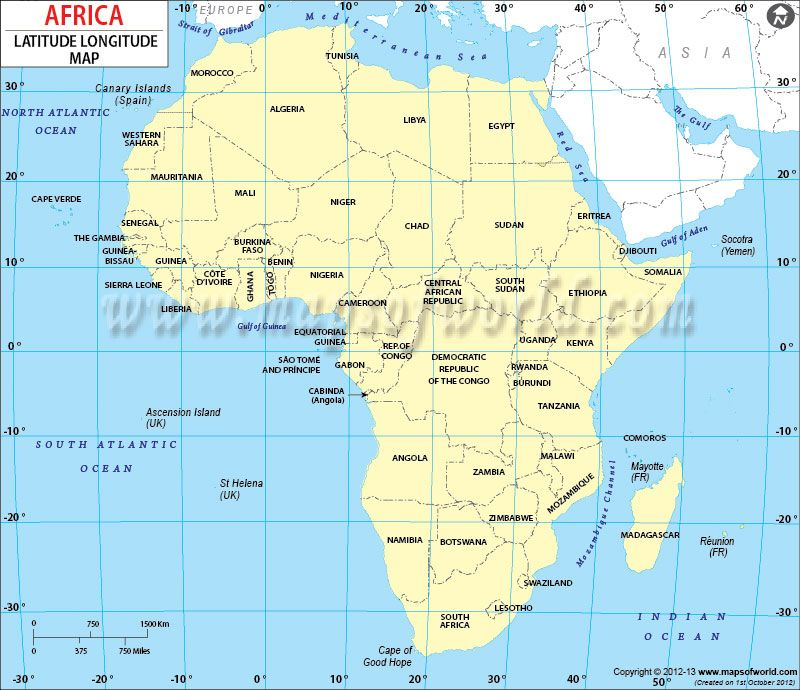 Map Of Africa With Lines Of Latitude And Longitude Africa Latitude and Longitude Map | Latitude and longitude map