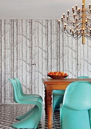 Birch wallpaper and aqua panton chairs