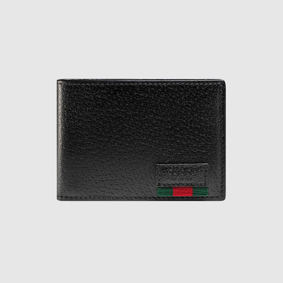 6c19f2dc0c4 GUCCI Leather bi-fold wallet with Web - black leather.  gucci ...