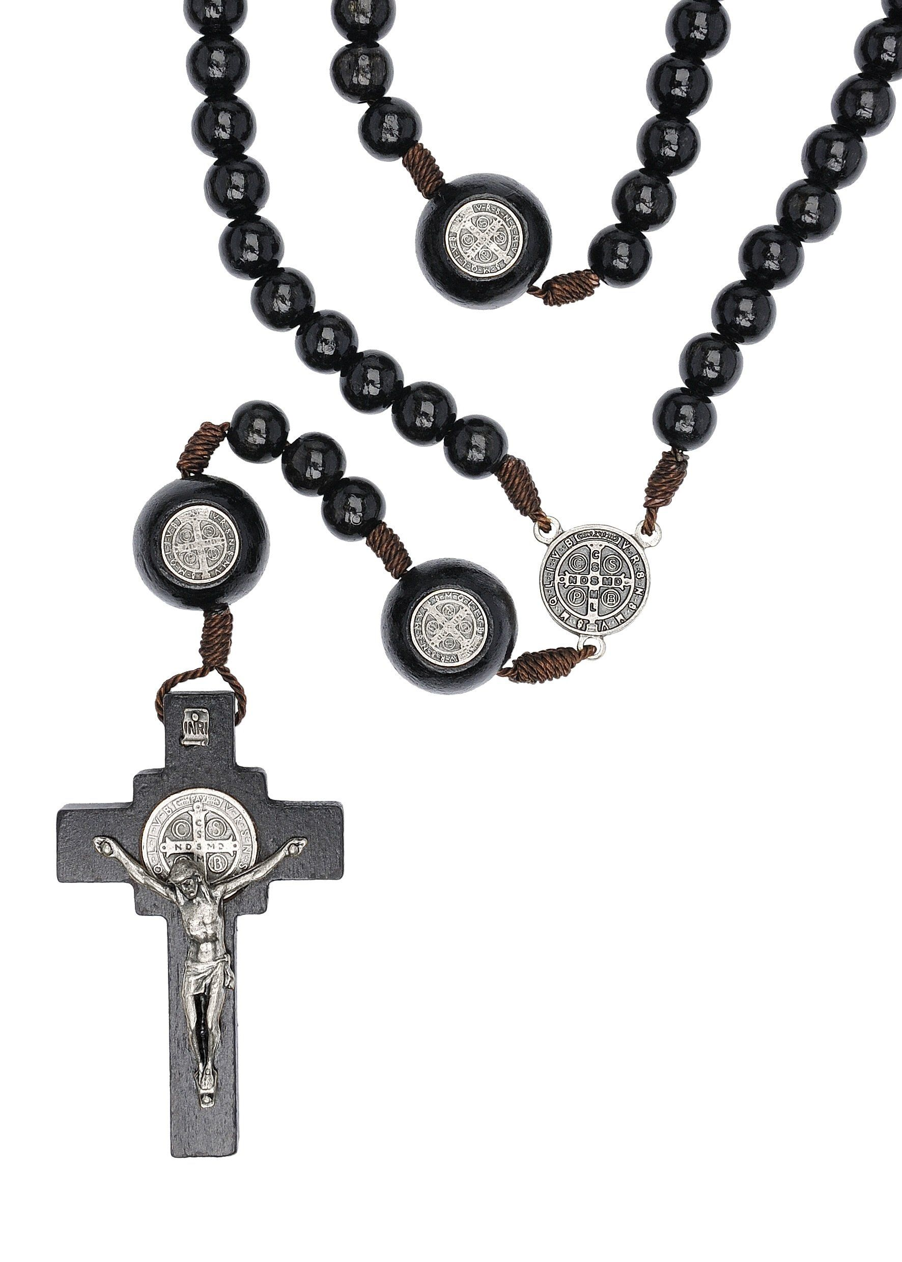 St benedict mens large intercession rosary made in brazil black