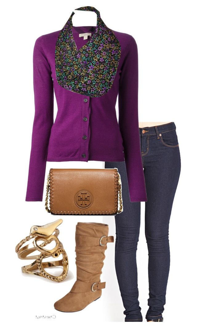 """Purple flowers Casual"" by xoashbashxo ❤ liked on Polyvore featuring Forever 21, Burberry and Tory Burch"