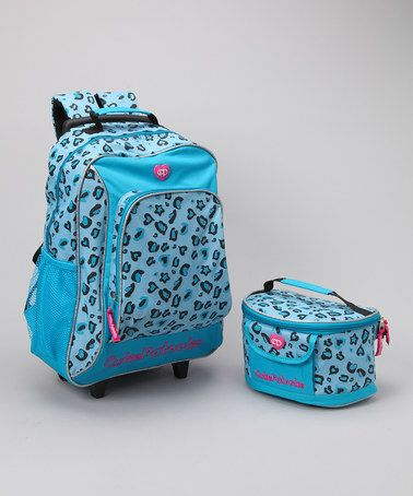 Cutie Patootie Turquoise Leopard Wheeled Backpack & Lunch Bag ...