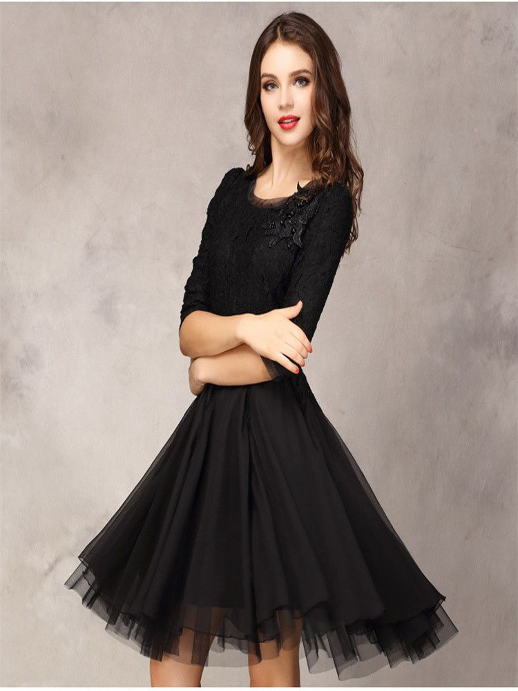 Black Homecoming Dresses With Half Sleeves Knee Length Modest Teens