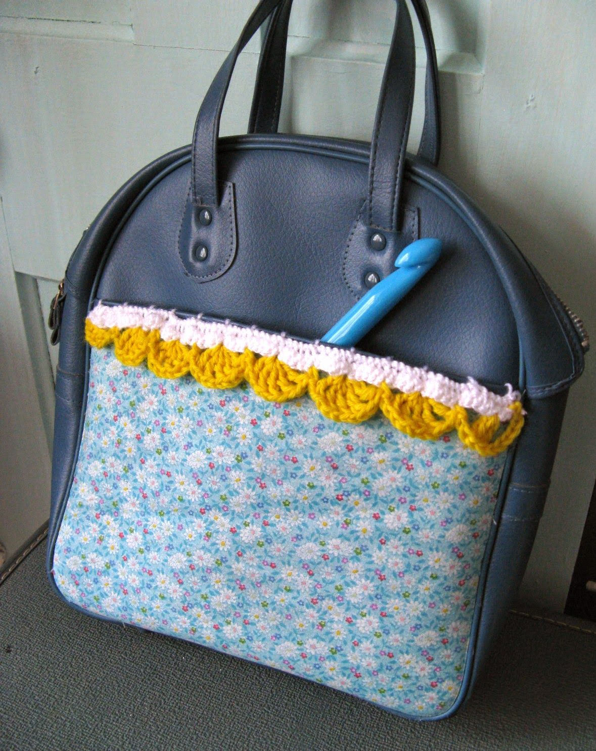 Happy as a Lark: Vintage Suitcase Turned into Crochet Bag