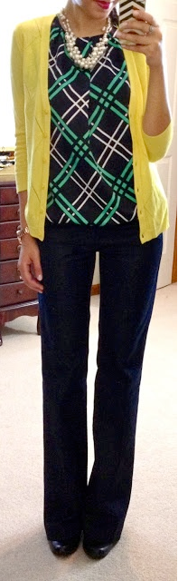 outfit post: green print top, mustard cardigan, black