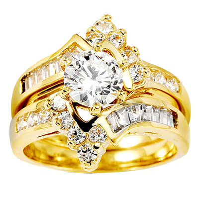 14k yellow gold round center cz wedding ring set 1 png - Wedding Ring Gold
