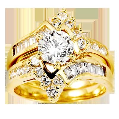 14K Yellow Gold Round Center CZ Wedding Ring Set 1
