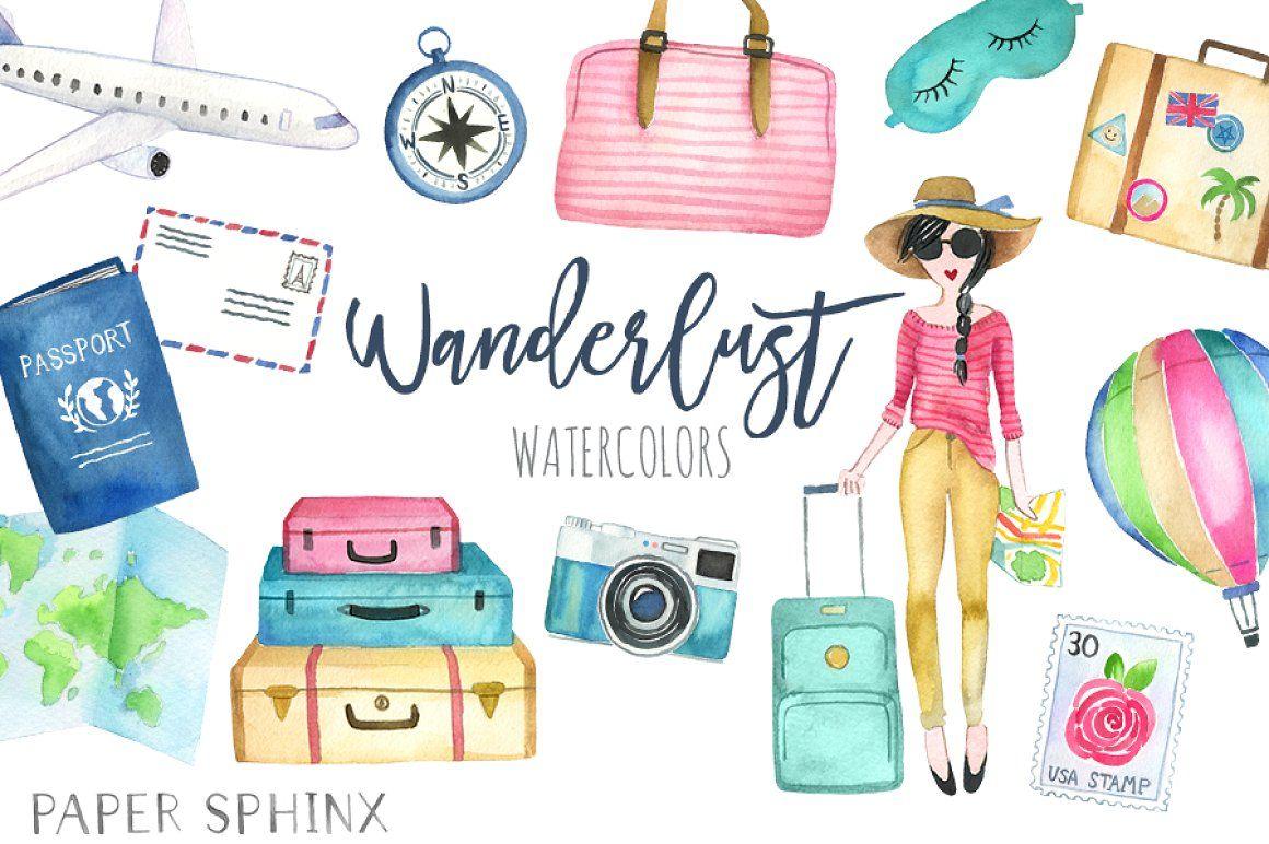 watercolor wanderlust travel pack travel clipart watercolor travel girls weekend travel woman wanderlust clipart luggage clipart [ 1160 x 772 Pixel ]