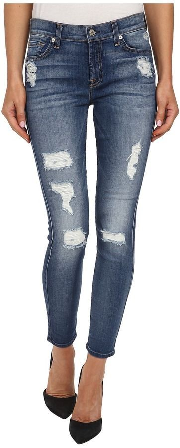 7 For All Mankind The Ankle Skinny W Destroy In Distressed