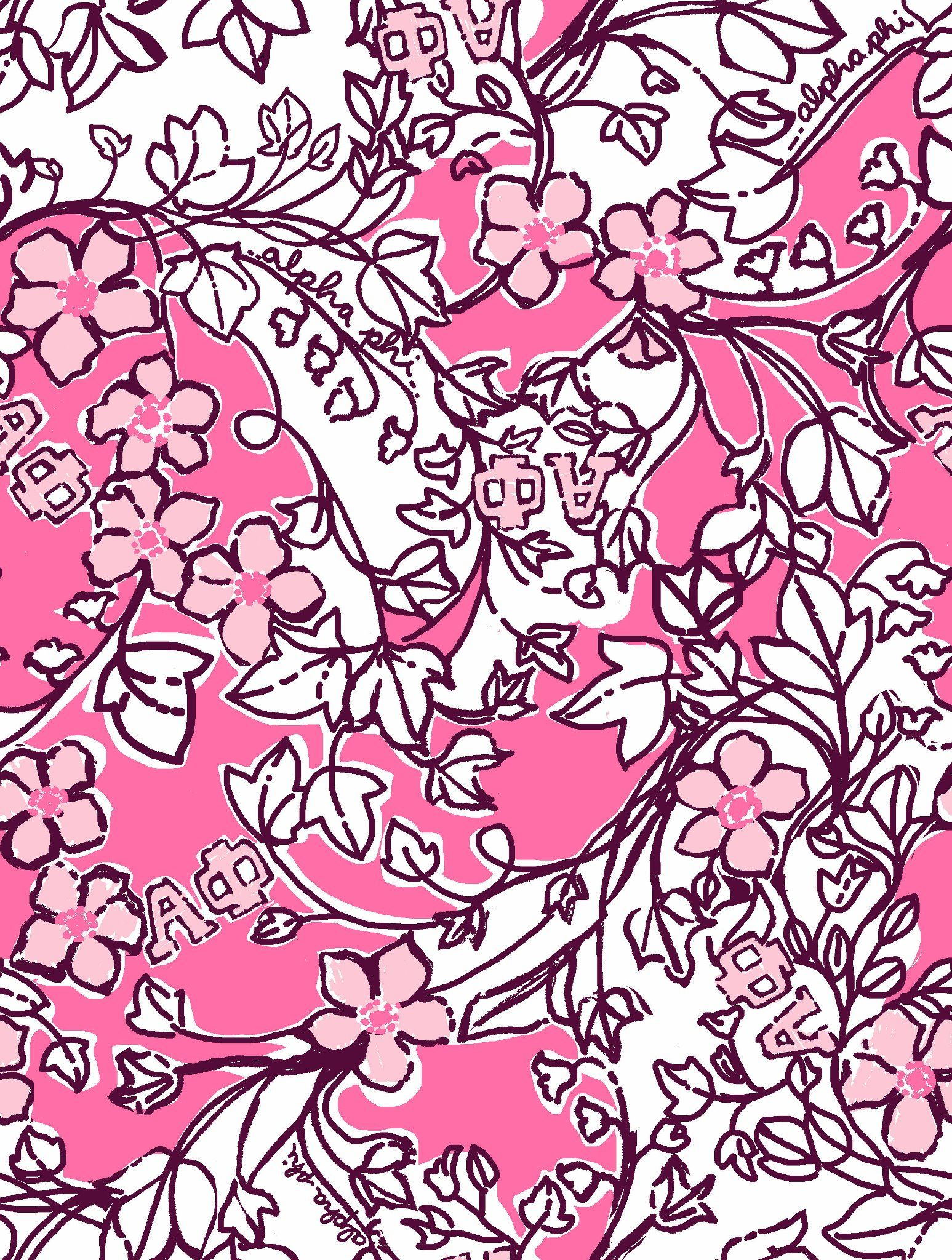 1eabdc60b058a2 the new Lilly Pulitzer Alpha Phi print! I think this is cute and would make  great bedding when Amy moves into the house next fall.