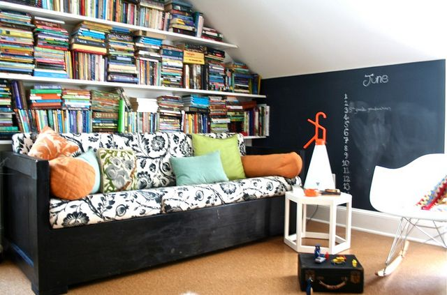 in the playroom Attic library Chalkboard walls and Attic