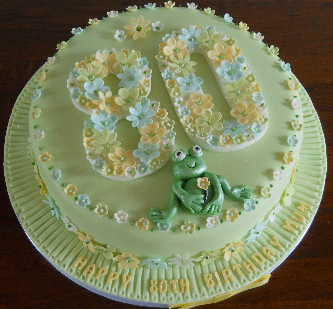 My latest creation An 80th Birthday cake with flowers and a frog