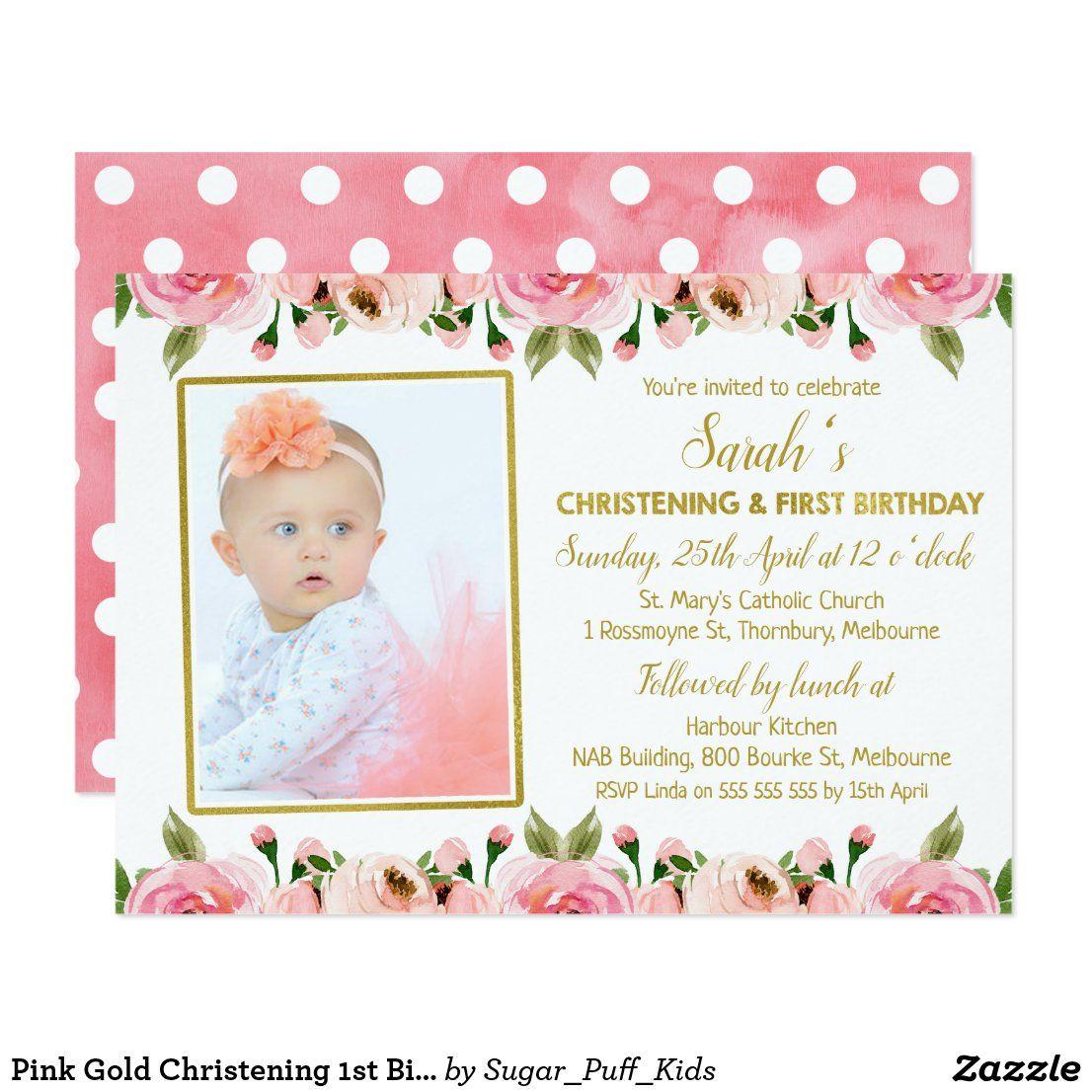 Pink Gold Christening 1st Birthday Invitation Zazzle Com 1st Birthday Invitations Christening Invitations Girl Birthday Invitations