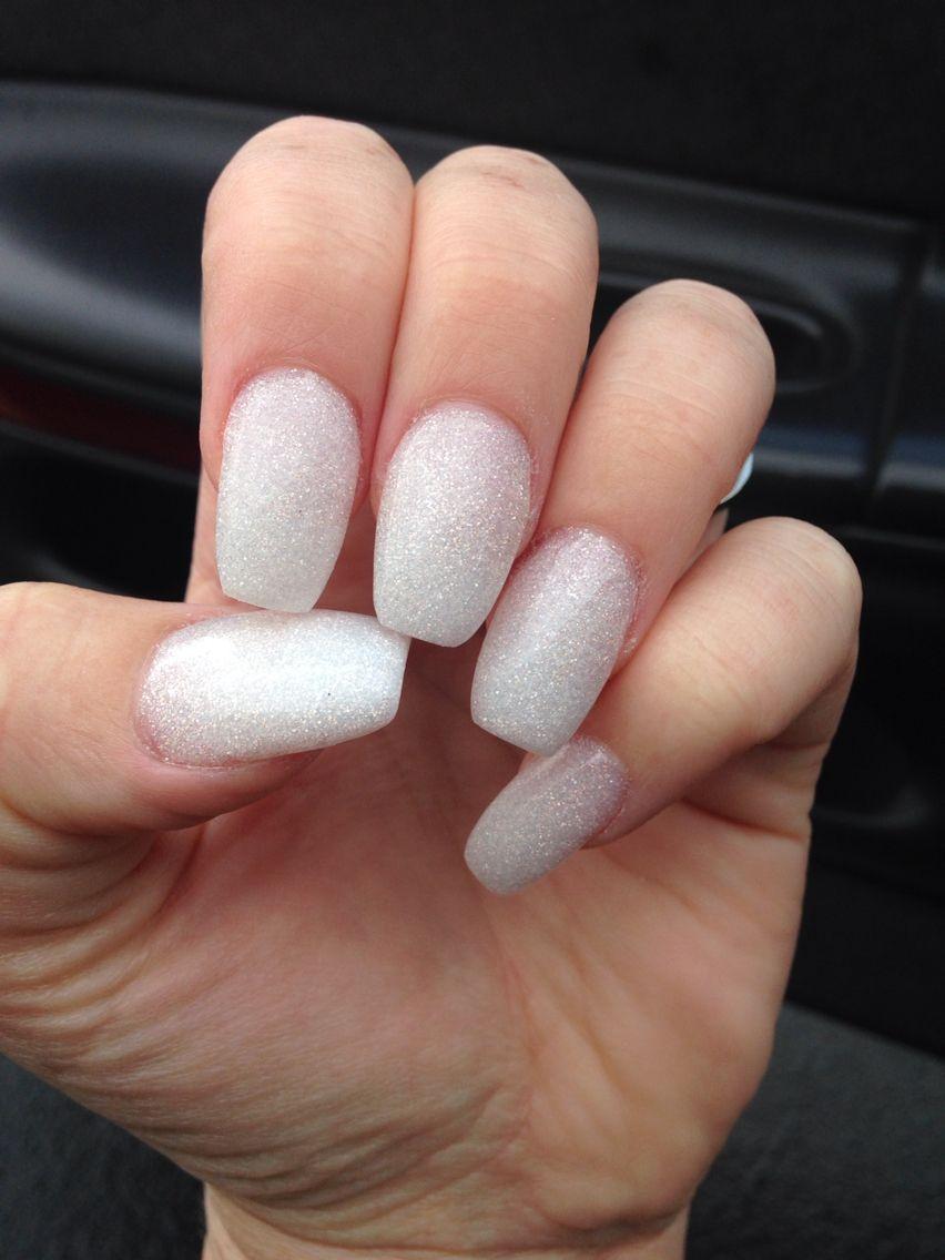 Love My New Nails White Glitter Shimmer Solar Acrylic Nails Coffin Shape Glitter Nails Acrylic White Glitter Nails White Nails
