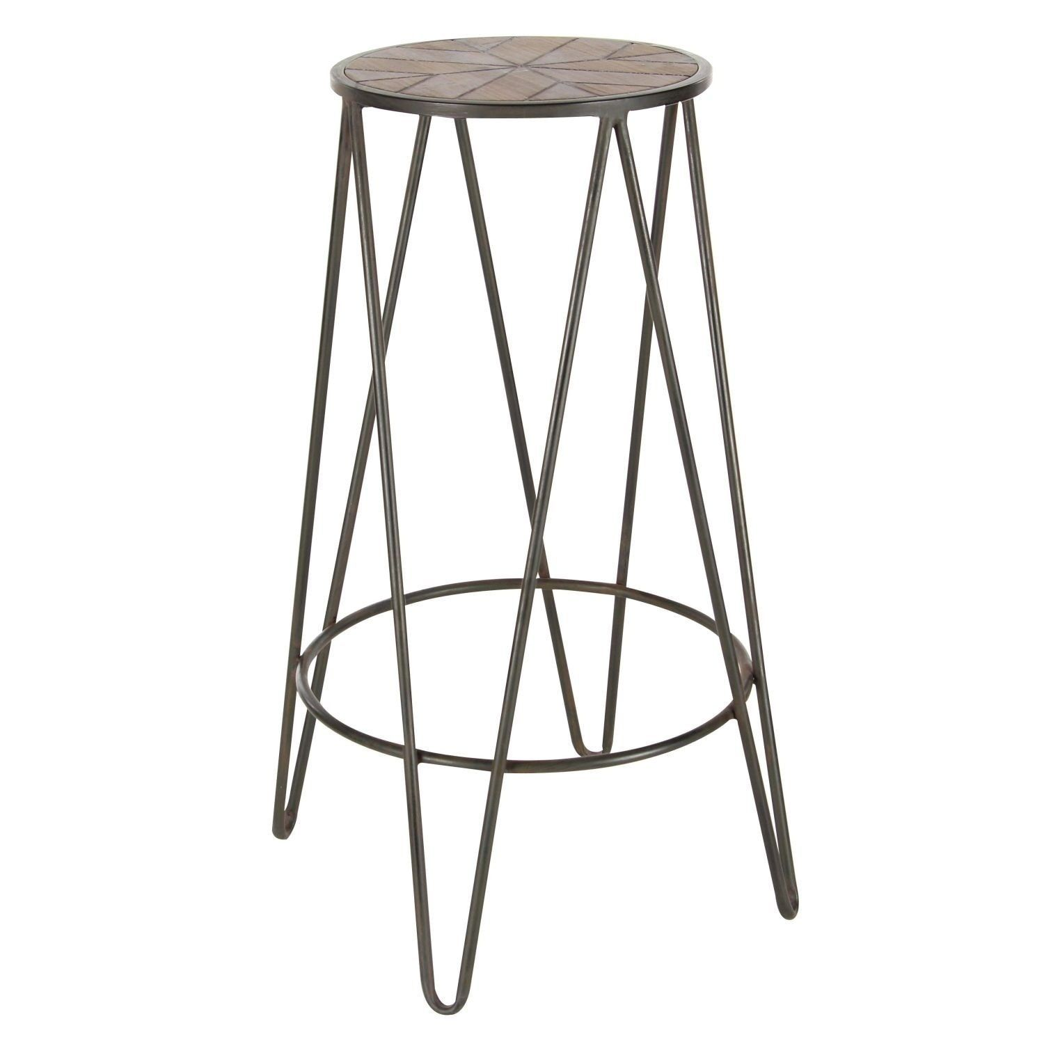 Studio 350 Metal Wood Stool 12 Inches Wide 30 Inches High Black