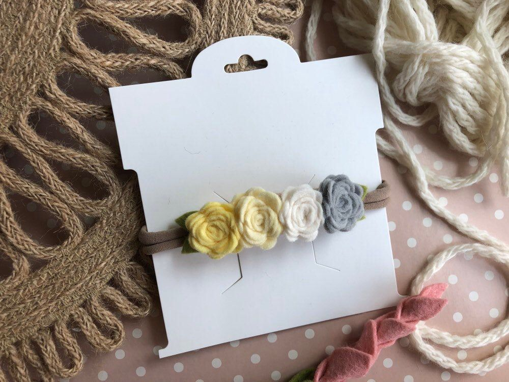 Yello Baby Flower Headband, Yellow Newborn Headband, Felt Flower Headband, Nylon Flower Headbands #feltflowerheadbands